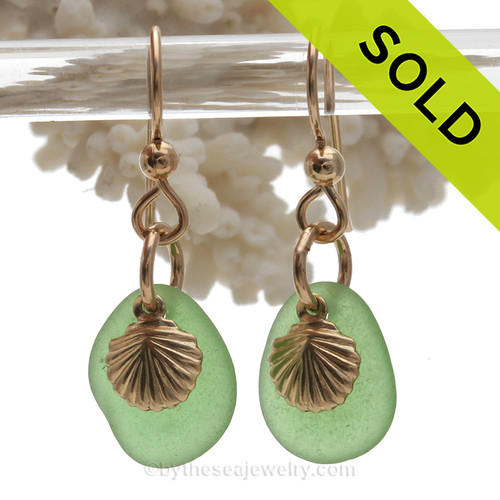 Petite Perfect Genuine Green Sea Glass Earrings On Gold With Sea Shell Charms