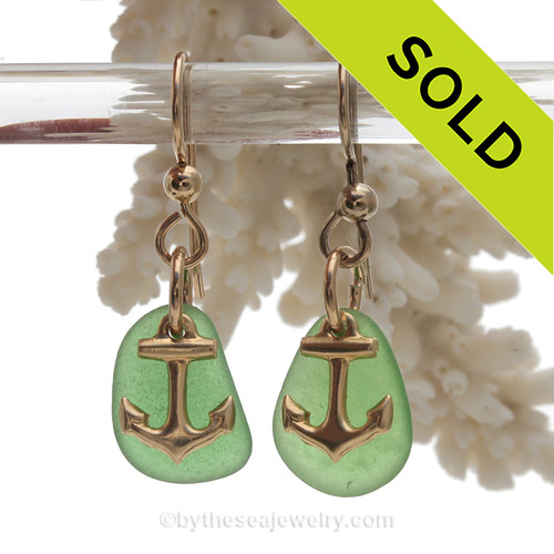 Petite Perfect Genuine Green Sea Glass Earrings On Gold With Anchor Charms