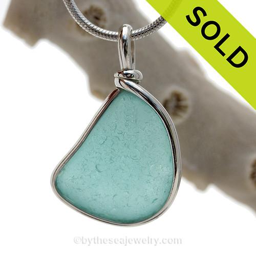 Triangle of Aquamarine Genuine Sea Glass Original Wire Bezel© Pendant in Sterling Silver