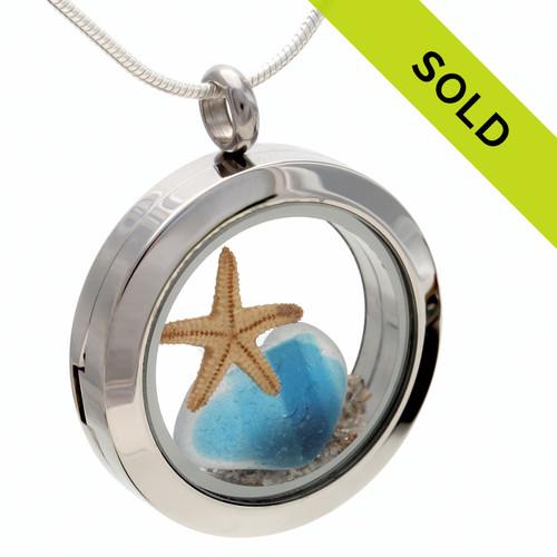 Tropical English Flashed Sea Glass With Starfish Locket