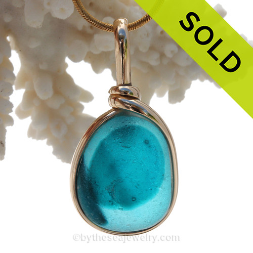 Petite Genuine Mixed Turquoise or Aqua Blue English Art Sea Glass In 14K G/F Original Wire Bezel©
