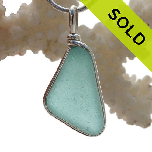 Aquamarine Genuine Sea Glass Original Wire Bezel© Pendant in Sterling Silver