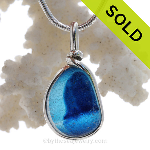 Liberty Bluebell - Blue Multi Seaham Sea Glass In Sterling Silver Original Wire Bezel©