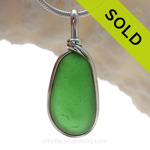 A Perfect well aged Genuine Intense Green Sea Glass In Original Silver Wire Bezel© Wire Pendant