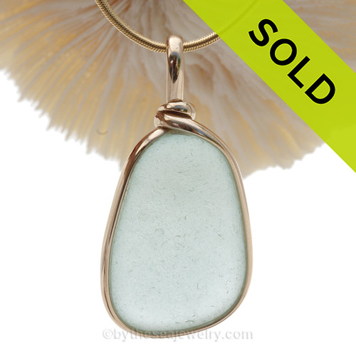 Soft Pale Aqua Blue Genuine Sea Glass Pendant In Gold Wire Bezel© Pendant