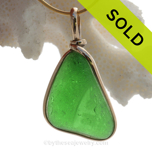 Triangle of Ridged Genuine Green Sea Glass in our Original Gold Wire Bezel ©