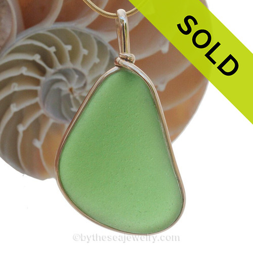 A cool LARge piece of green Genuine Sea Glass set in our Original Wire Bezel© setting in 14K Rolled Gold