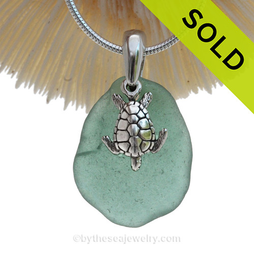 """Aqua Green Sea Glass Necklace with Sterling Sea Turtle Charm and 18"""" STERLING CHAIN INCLUDED"""