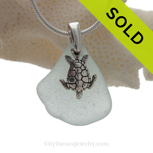 "Pretty Pale Aqua Blue Sea Glass Necklace with Sterling Sea Turtle Charm and 18"" STERLING CHAIN INCLUDED"