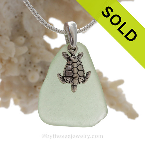 "Seafoam Green Sea Glass Necklace with Sterling Detailed Sea Turtle Charm and 18"" STERLING CHAIN INCLUDED"