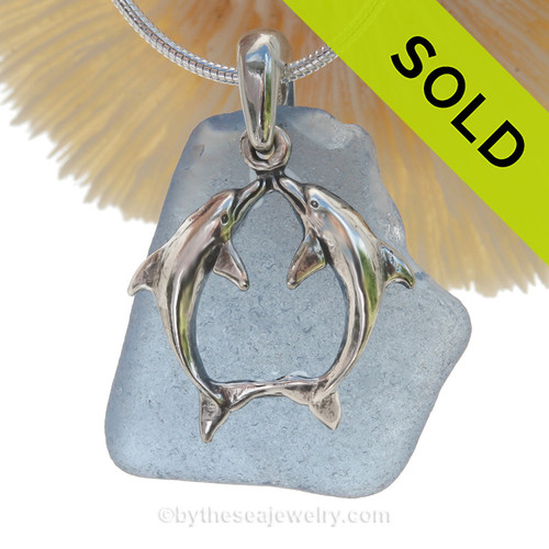 """VERY LARGE Rare Carolina Blue Sea Glass With Sterling Silver Kissing Dolphins Charm - 18"""" STERLING CHAIN INCLUDED"""