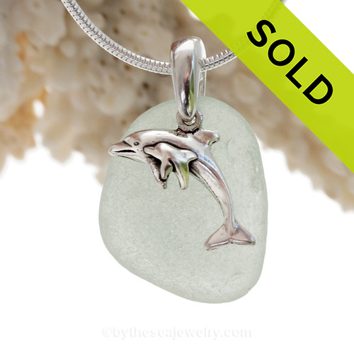"Sea Green Sea Glass With Sterling Silver Mother and Child Dolphins Charm - 18"" STERLING CHAIN INCLUDED"