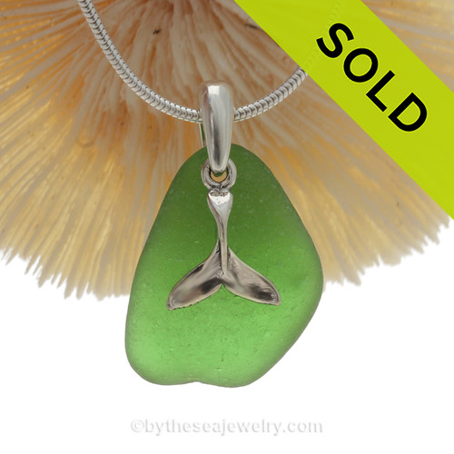 """Vivid Green Sea Glass With Sterling Silver Sea Whale Tail Charm - 18"""" STERLING CHAIN INCLUDED"""