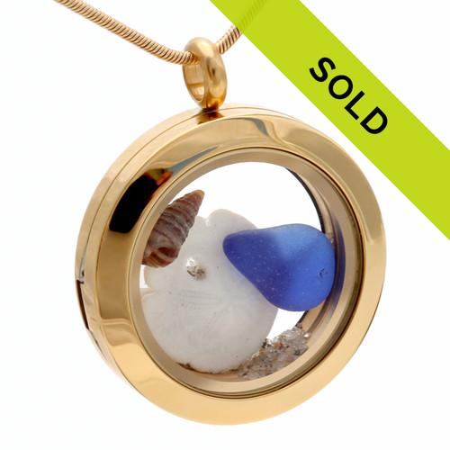 Blue Sea Glass Sandollar & Shell In Gold Locket