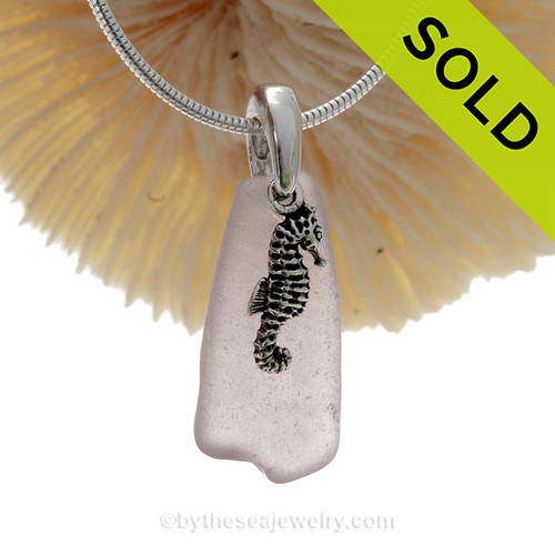 Pale Purple Sea Glass Necklace With Sterling Silver Seahorse Charm On Sterling Bail - S/S CHAIN INCLUDED