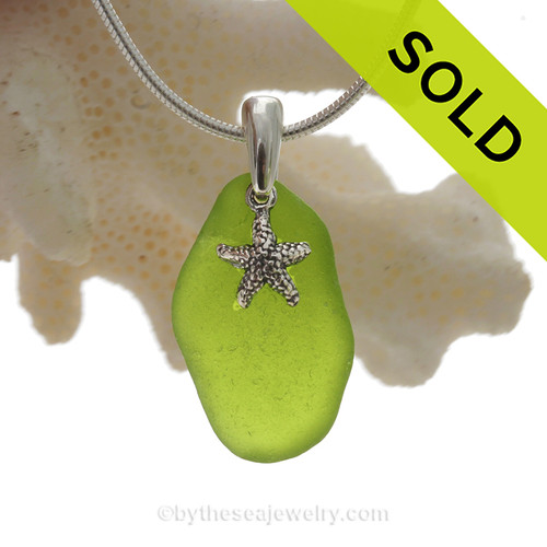"Naturally shaped Rare Lime or Chartreuse Glass Necklace with Sterling Silver Sea Star Charm and 18"" STERLING CHAIN INCLUDED"