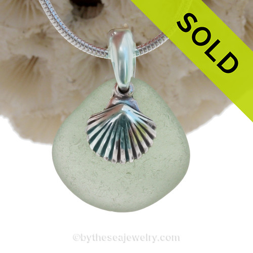 """Peridot Green Sea Glass With Sterling Silver Shell Charm - 18"""" Solid Sterling CHAIN INCLUDED"""