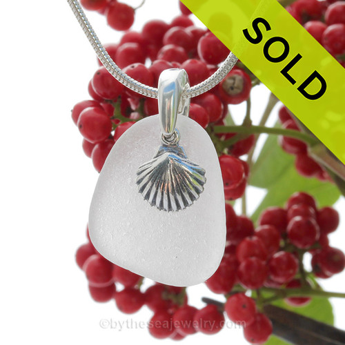 """Pure White Sea Glass With Sterling Silver Shell Charm - 18"""" STERLING CHAIN INCLUDED"""