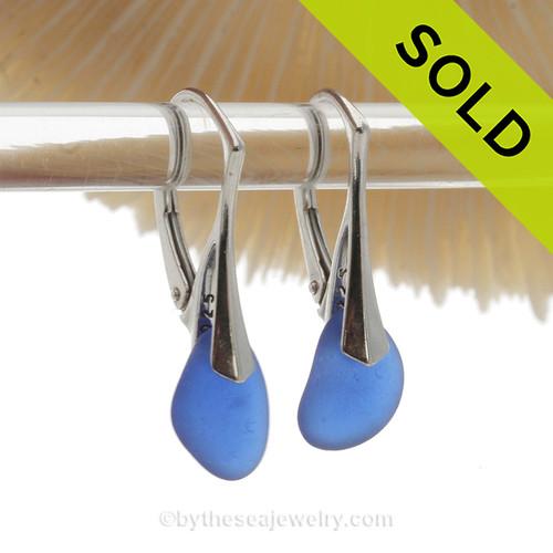 Lightweight Simply Elegant Petite Genuine Blue Sea Glass Earrings