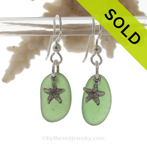 Perfect Green Sea Glass Earrings On Sterling W/ Solid Sterling Starfish Charms