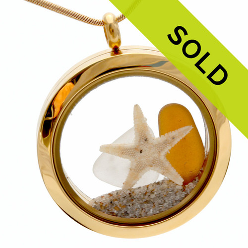 Sorry this gold sea glass locket and chain have been sold!