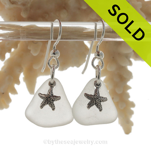 Beach Found Sea Glass Earrings In Pure White on Sterling Silver With Starfish Charms