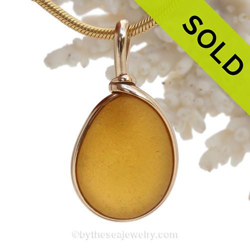 Sunny Disposition - ULTRA RARE Golden English Sea Glass In 14K G/F Original Wire Bezel© (ULTRABEZEL101)