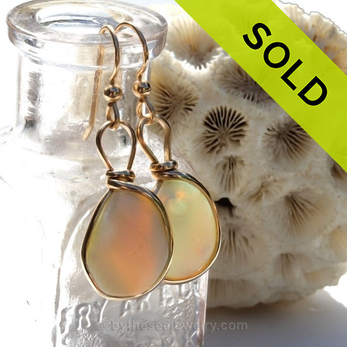 Super Ultra Rare Opalized Sea Glass Earrings in our Original Wire Bezel© setting in 14K Rolled Gold
