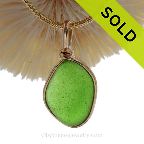 Vivid Genuine Lime Green Sea Glass in our Original Gold Wire Bezel © (
