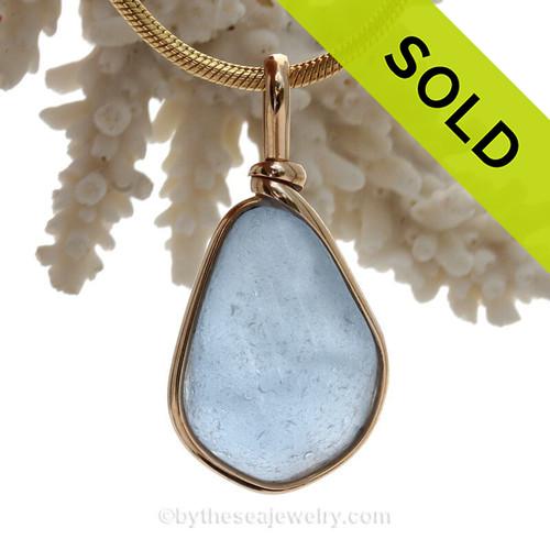 Carolina Blue Genuine Sea Glass Original Wire Bezel© Pendant in 14K Goldfilled