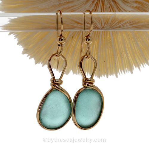 Thick Smaller Aqua blue beach found Sea Glass Earrings set in our signature Original Wire Bezel© setting in gold.