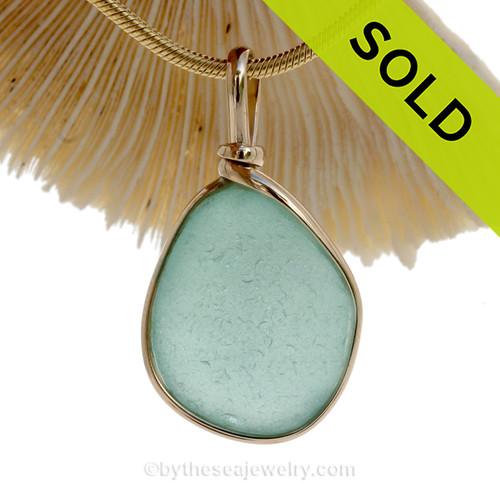 Flat Lovely Aqua Blue Genuine Sea Glass Pendant In Gold Wire Bezel© Pendant