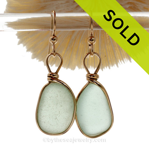 Larger Seafoam beach found Sea Glass Earrings set in our signature Original Wire Bezel© setting in gold.