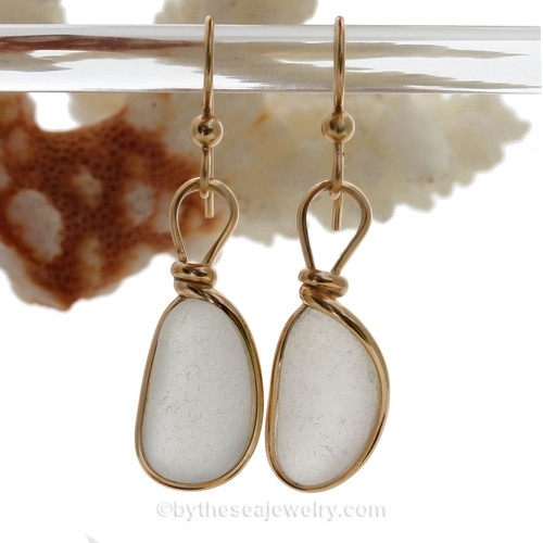 Long Ovals of White Genuine Sea Glass Earrings In Goldfilled Original Wire Bezel© (GFEBEZEL14)