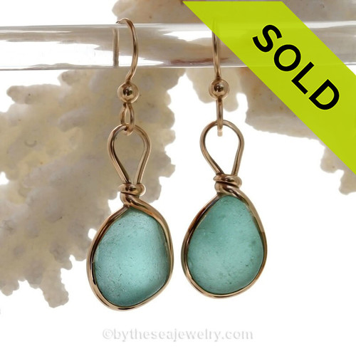 Chunky Aqua Blue Beach Found Sea Glass Earrings In 14K Goldfilled Original Wire Bezel©