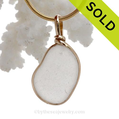 Natural Pure White Sea Glass Pendant In 14K G/F Original Wire Bezel©