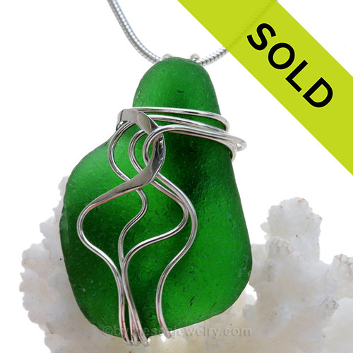 Vivid Saturated Green Genuine Sea Glass Sterling Waves© Signature Sterling Setting Pendant