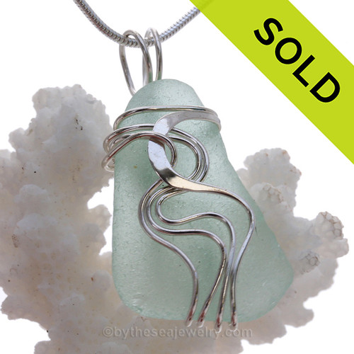 Seafoam Sea Glass Sterling Waves© Signature Sterling Setting Pendant