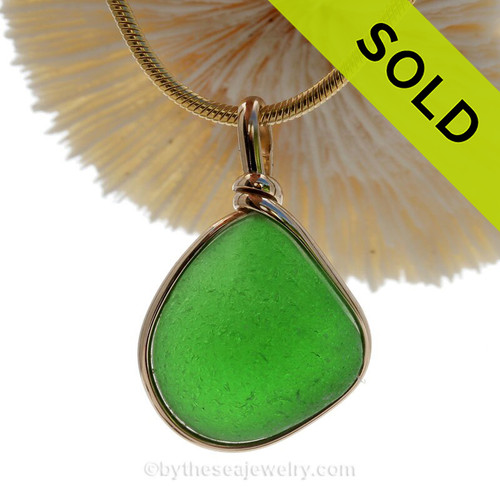 Large and Thick Glowing Green Genuine Beach Found Sea Glass in our Original Gold Wire Bezel ©