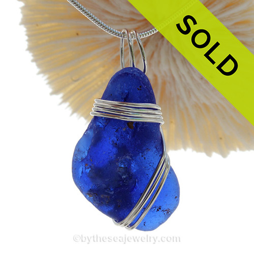 LARGE Bonfire Blue Beach Found Sea Glass In Sterling Triple Wire Necklace Pendant