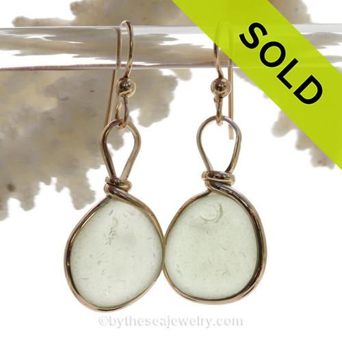 Pale Peridot Green Beach Found Sea Glass Earrings In 14K Goldfilled Original Wire Bezel©