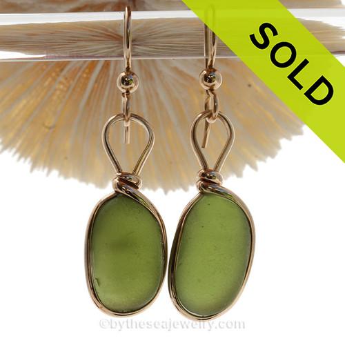 Vivid  Glowing Seaweed Green Genuine Sea Glass In Gold Original Bezel©