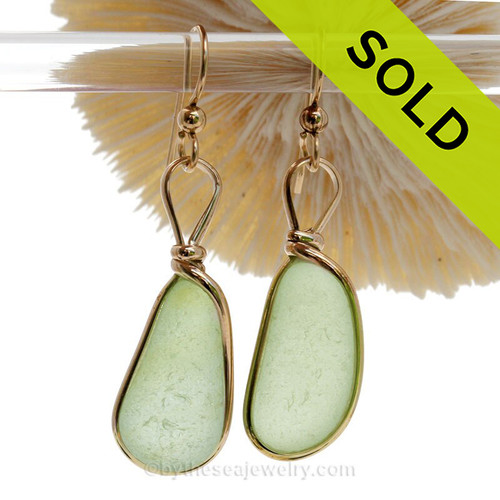 Larger teardrop shaped Seafoam beach found Sea Glass Earrings set in our signature Original Wire Bezel© setting in gold.