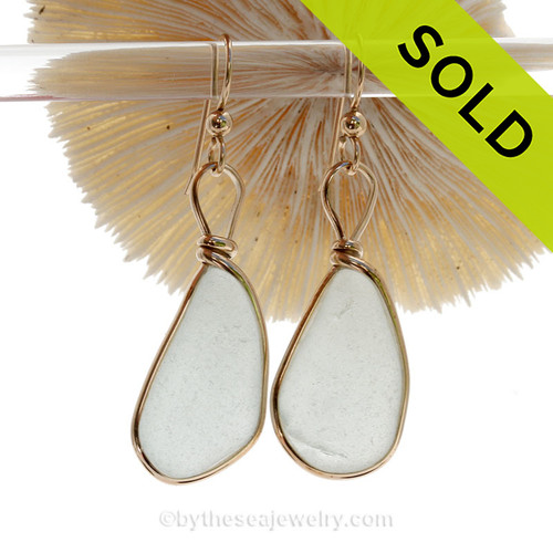 Long Large White Genuine Sea Glass Earrings in Gold Original Wire Bezel©