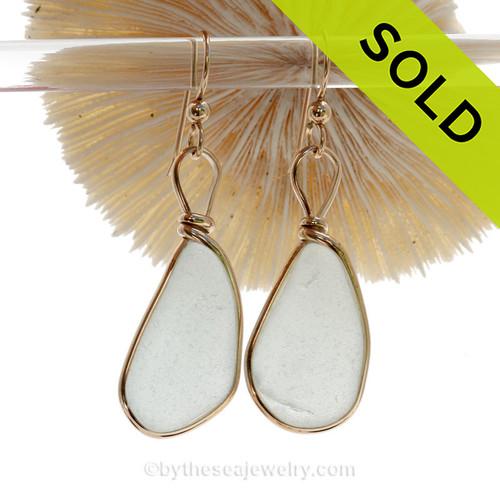 Long Large White Genuine Sea Glass Earrings in Gold Original Wire Bezel©