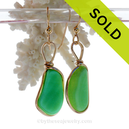 JADEITE GREEN SEA GLASS EARRINGS. Our original Wire Bezel ©2000 Setting lets all the beauty of these beauties shine in an elegant classic setting!