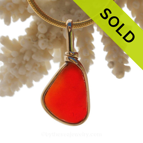 Ultra rare vivid long orange red sea glass from Seaham England in our Original Wire Bezel© setting in 14K Rolled Gold.