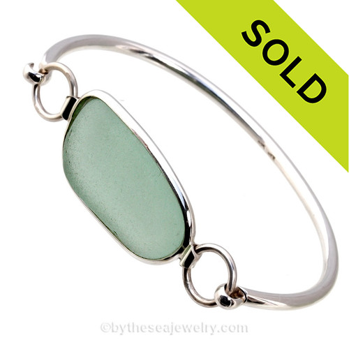 Seafoam Green Premium Sea Glass Bangle Bracelet in Deluxe Wire Bezel©