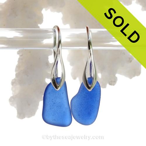 Genuine Cobalt Blue Sea Glass on Solid Sterling Deco Hook Earrings