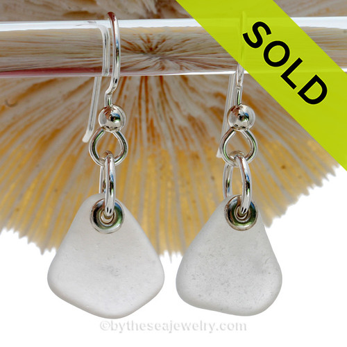 Simply Sea Glass -  Genuine Sea Glass Earrings In Pure White on Sterling Silver